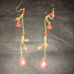 Jewelry - Dangly gold drop earrings with orange beading