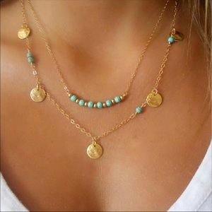 Jewelry - Double Layer Turquoise Beaded Gold Coin Necklace