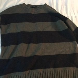 Olive green and black striped sweater