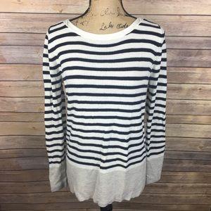 LOFT Sz Medium Navy White Gray Stripe Sweater