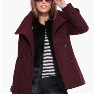 🆕 NWT H&M Burgundy Double Breasted Pea Coat