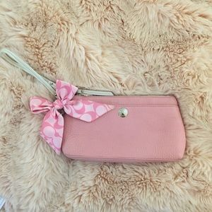 Baby Pink Coach Leather Wristlet