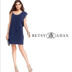 (Betsy & Adam) Navy Blue Cocktail Dress Size 2P