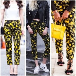 🍋ZARA LEMON PRINT CROP PANTS
