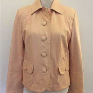 Ann Taylor peach leather Button Up jacket blazer