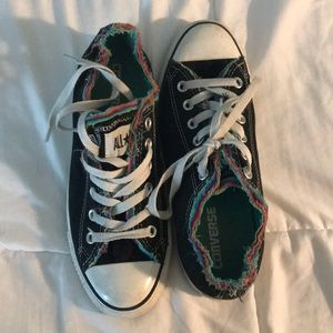 Black with rainbow detailing converse