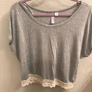 Francesca's Grey and Lace Short Sleeve Blouse