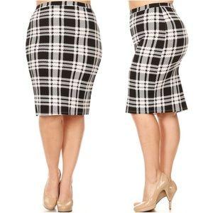 Dresses & Skirts - Plus Black White Plaid Holiday Pencil Skirt