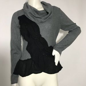Moth Anthropologie Gray Cowl Neck Sweater