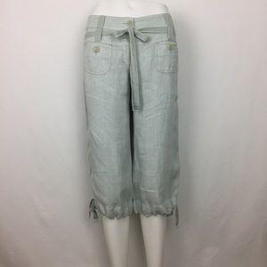 Elevenses Cropped Linen Pant Seafoam Green Size 2