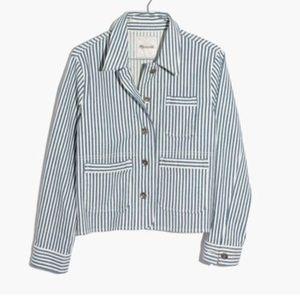 Madewell shrunken jacket poppy railroad stripe
