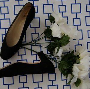V Cut Vintage suede x leather heels
