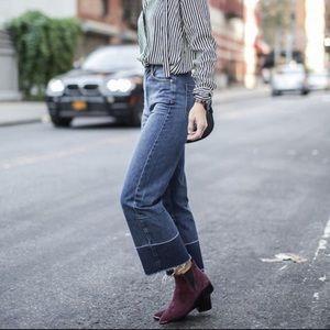 High Rise Let Down Hem Crop Jeans