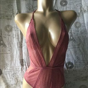 NWT VS Very Sexy Plunge Garter Teddy S Pink Blush