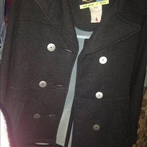 black button up coat