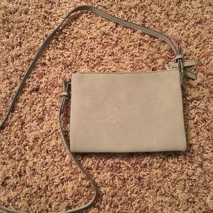 Gray Suede Crossbody Bag