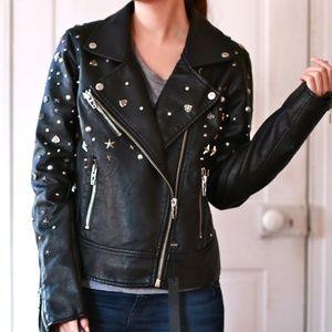 Blank NYC Studded Black Vegan Leather Moto Jacket