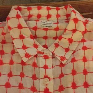 Madewell lightweight poplin small red and white