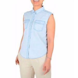 🌺⭐️🌺⭐️EUC sleeveless chambray button down