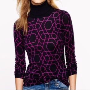 J. Crew Turtleneck Diamond Abstract Sweater S