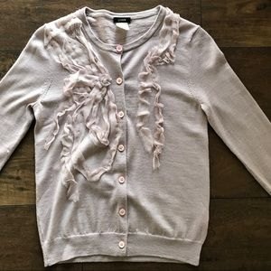J. Crew Lilac Ribbon Front Cardigan Sweater