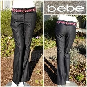 Bebe Embroidered Satin Waist Wool Trousers
