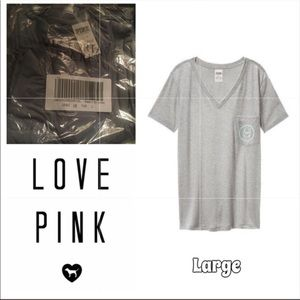 NWT VS PINK OVERSIZED CAMPUS TEE LRG