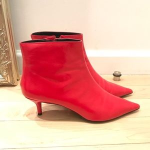 Zara leather red boot size 40