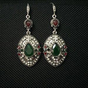 Antique Silver Ovate Rhinestone Studded Earrings