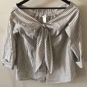 Striped off the shoulder button down blouse
