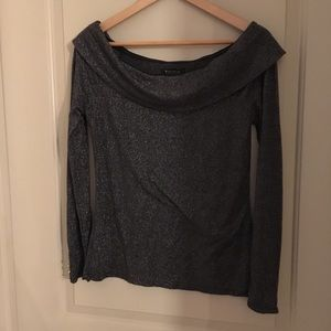 Silvery boat neck sweater