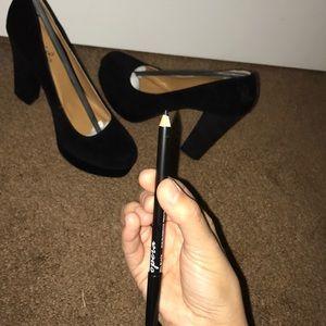 Qupid Trisha heels —BLACK/VELVET