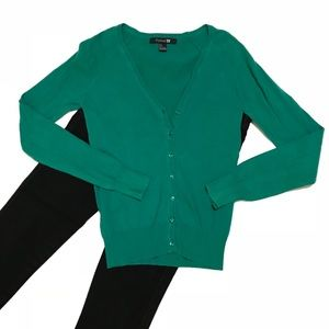 Forever 21 green button up cardigan