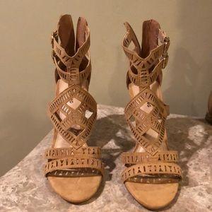 beige peep toe heels