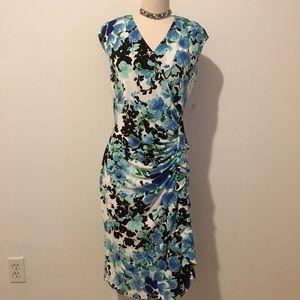 AMERICAN LIVING BLUE FLORAL SHEATH DRESS SIZE 14