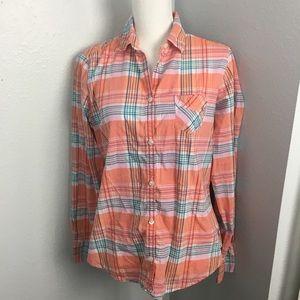 American Eagle Peach Plaid Button Front Shirt