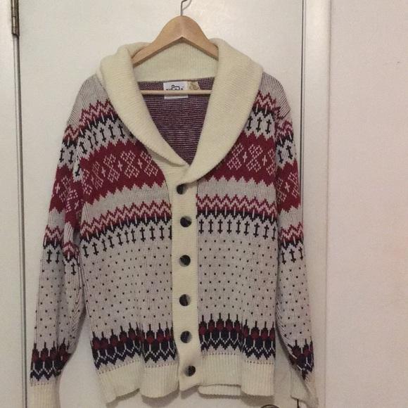 Mens Vintage Wool Rich Cardigan Sweater Med Poshmark