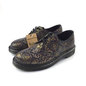 Dr. Martens Purple Gold Baroque Print 3 Eye Shoes