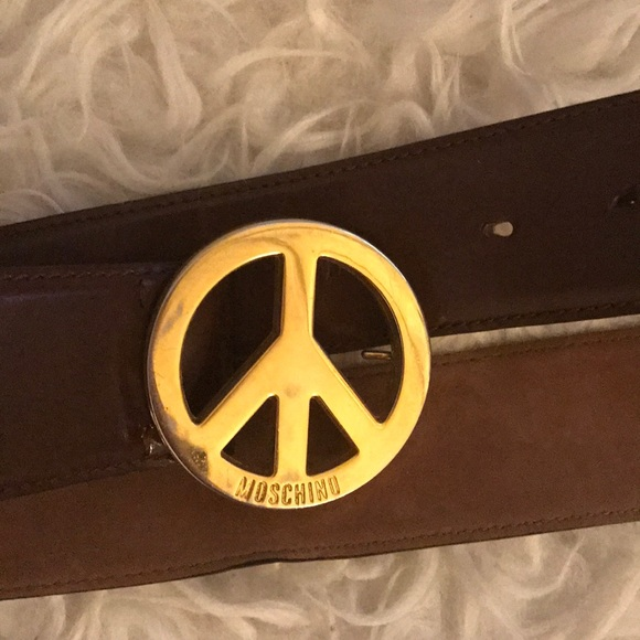 Moschino Accessories - Moschino peace sign belt