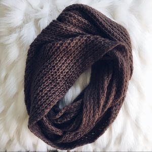 Brown knit infinity scarf winter knitted scarves