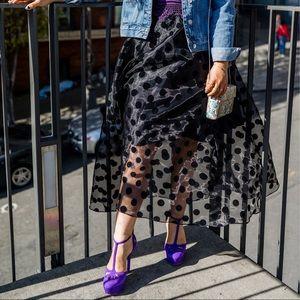 Polka Dot Maxi A-line Skirt