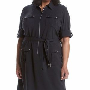 MICHAEL KORS Belted Utility Shirt Dress Black