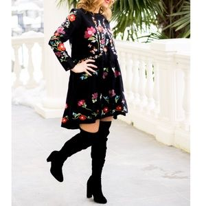 ZARA Floral Embroidered Dress With Long Sleeves