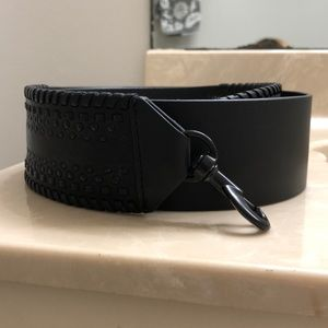 Black leather shoulder/ cross body/ guitar strap