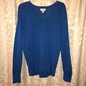LOFT Royal Blue Cotton Sweater (Size Large)