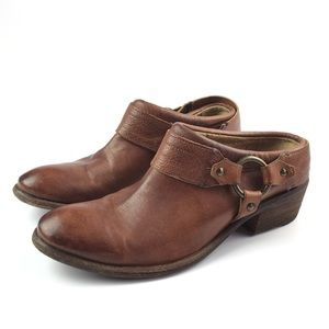 Frye Brown Carson Clog Harness Booties