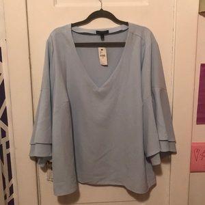 Lane Bryant blue bell sleeved blouse