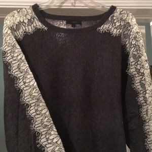 Gray Jcrew merino sweater with lace sleeve detail