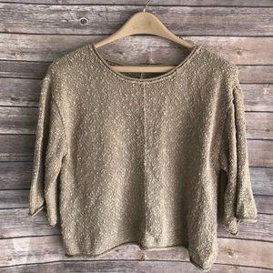 •Free People• Chunky Tan Knit Sweater