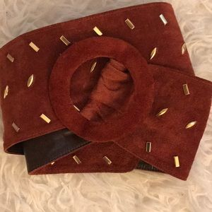 Vintage Givenchy wide brown suede gold stud belt